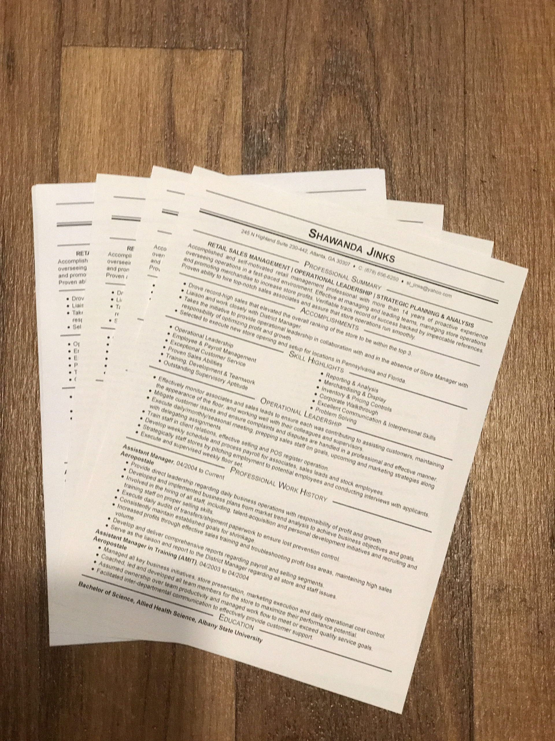 Hard Copies of Resume/Document(s)